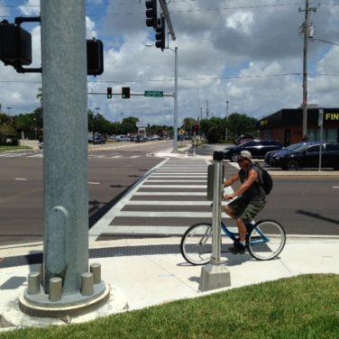 Pasadena Avenue, bicycle at crosswalk