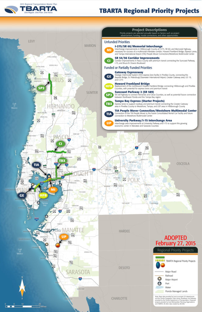 TBARTA Map of Regional Priority Projects