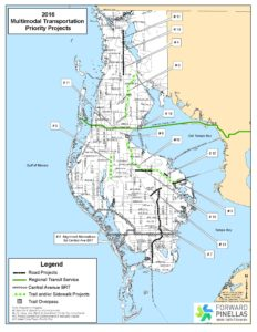 Map of 2016/17 multimodal priority projects