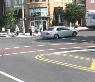 photo of a complete street and bicyclist