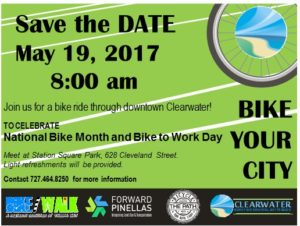 Bring your bicycles and join us for a bike ride through downtown Clearwater on May 19 at 8 a.m. We'll be celebrating National Bike Month and Bike to Work Day. Hope to see you there!