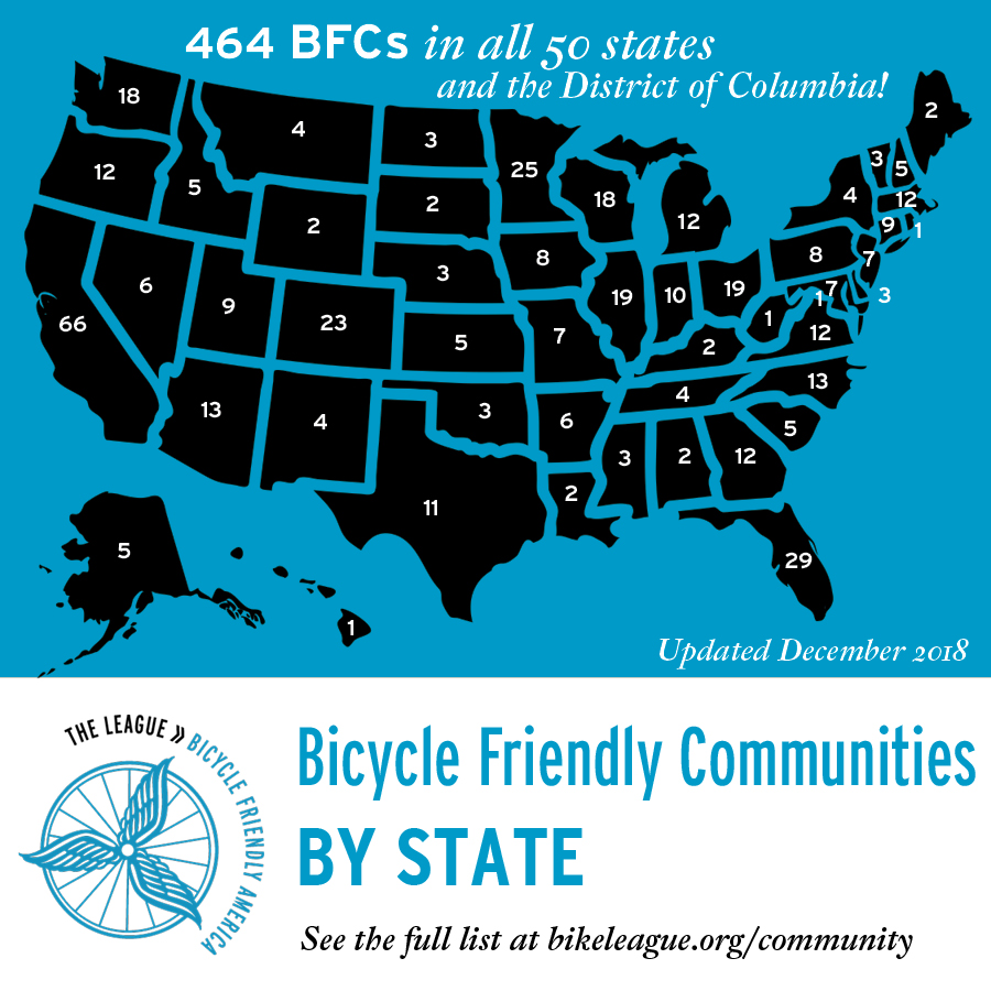 Bicycle Friendly Communities by state, see the full list at bikeleague.org/community