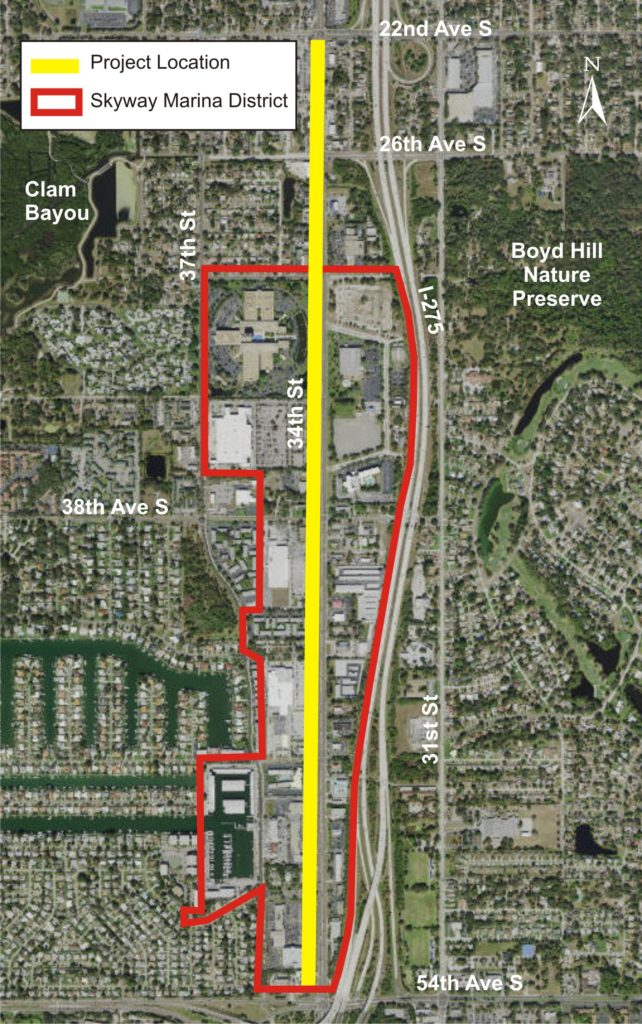 Map of the study corridor from of 34th Street from 22nd Avenue South to 54th Avenue South and the Skyway Marina district, bounded by I-275 and 37th Street.
