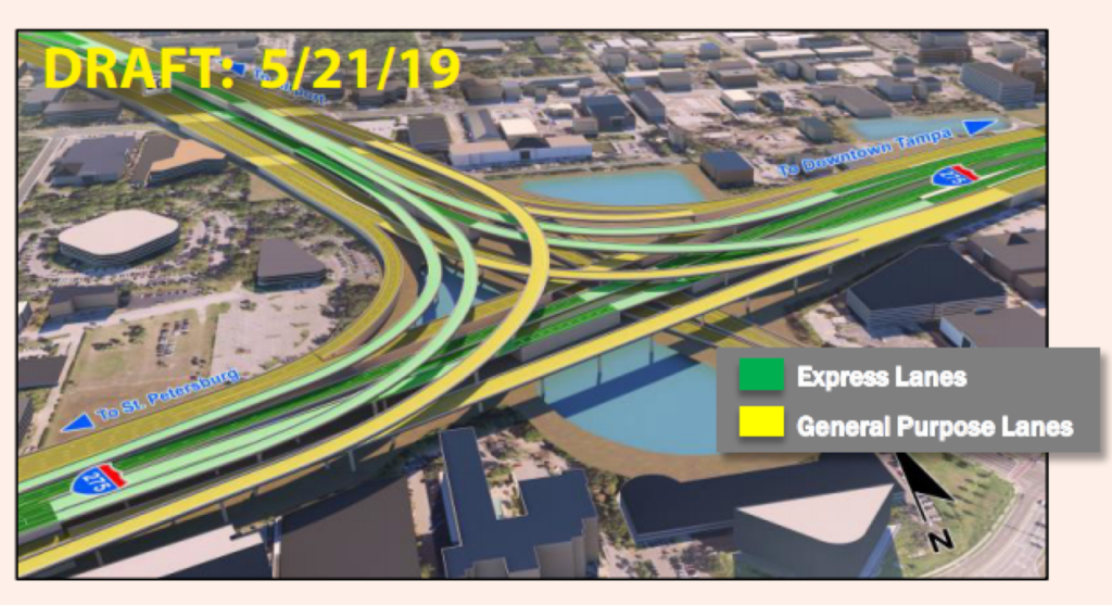 May 21, 2019 draft Florida Department of Transportation rendering of the full reconstruction of the Westshore interchange, showing the addition of two express lanes in each direction and connecting to the Veterans and Howard Frankland Bridge.