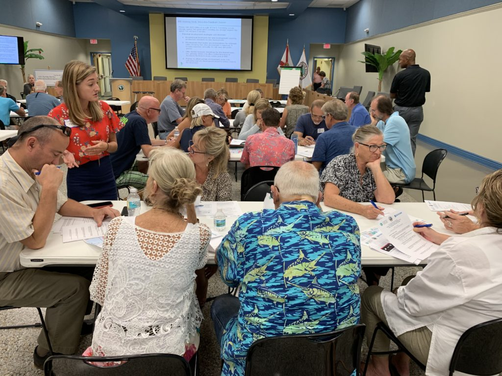Forward Pinellas planners explain an activity at a public workshop