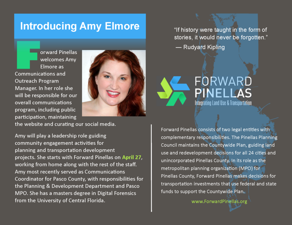 announcement of Amy Elmore, Communications and Outreach Program Manager
