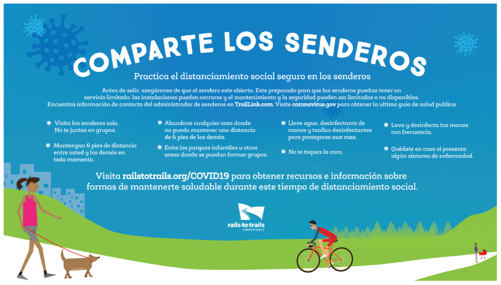 Comparte Los Senderos (tips for sharing the trail, spanish version)