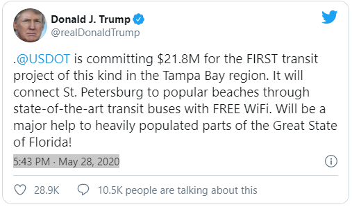 Trump Tweets about BRT