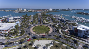 An aerial shot of the roundabout on Clearwater Beach (Chris Zuppa)